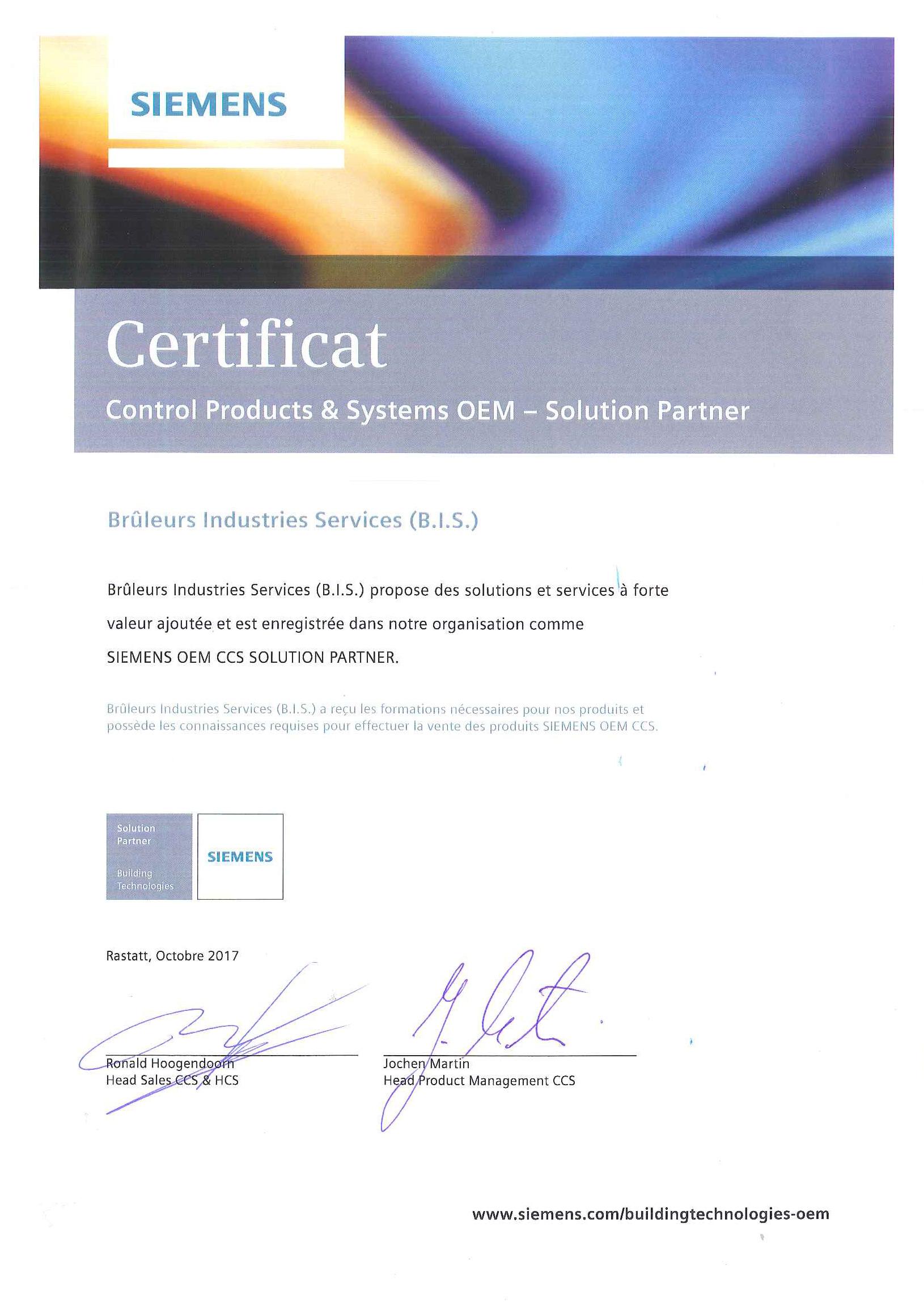 Entreprise certifiée par Siemens pour contôler ses solutions industrielles